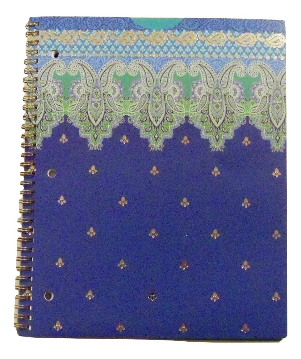 Carolina Pad Studio C College Ruled Poly Foil Cover Spiral Notebook ~ Taj Mahal (Blue, Green and More; 80 Sheets, 160 Pages)