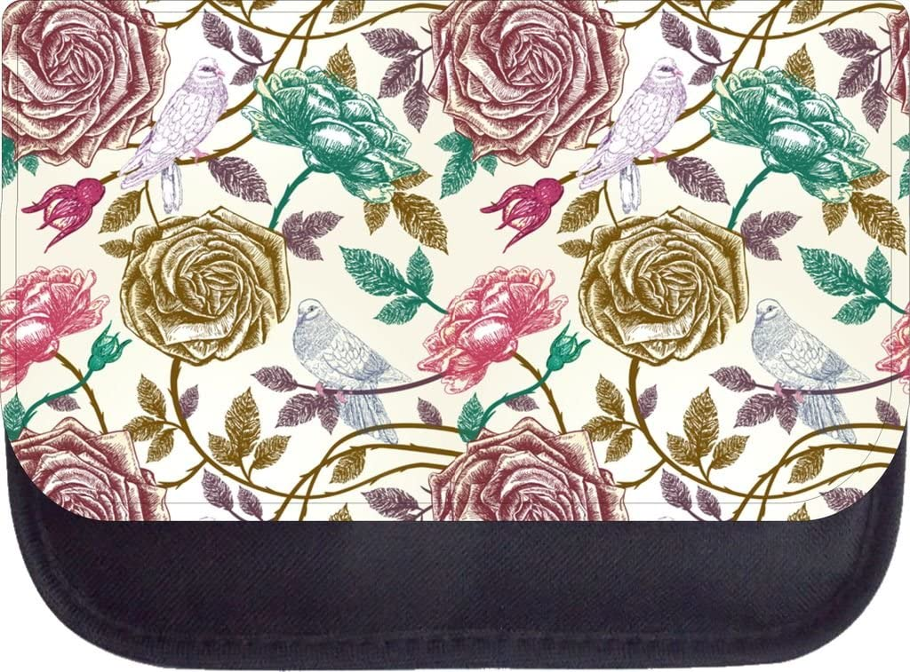 Vintage Style Birds and Roses Backpack and Pencil Case Set