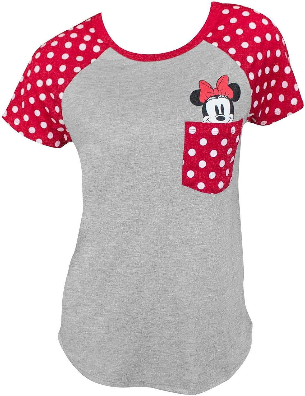 Disney Minnie Mouse Peeking Out Fashion Junior Cut Fashion T Shirt