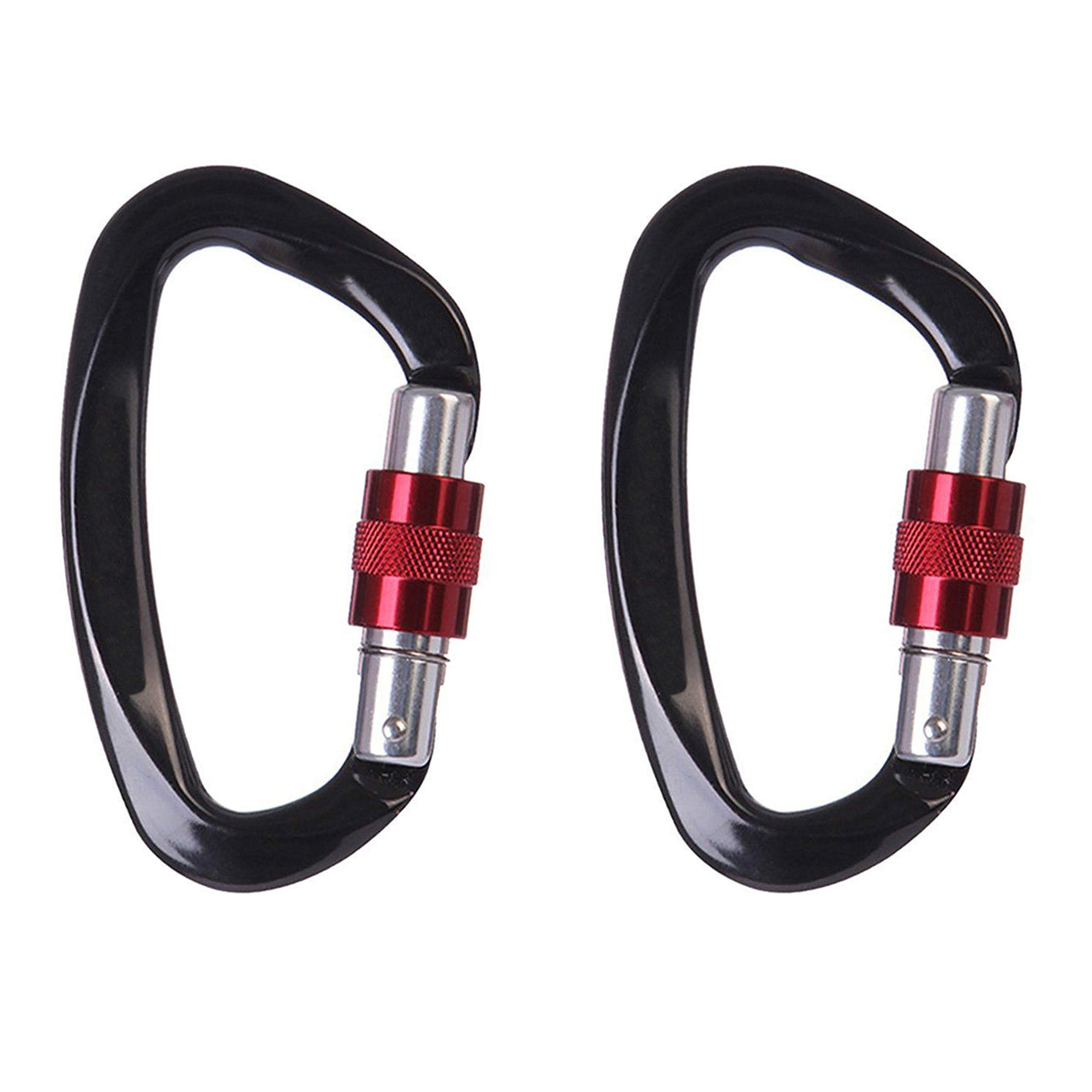 GiftOverIt 2 Pack Carabiner - Strength Locking Carabiner Large 4 inch Heavy Duty Screwgate 25 kn (2500 kg /5511 lbs)