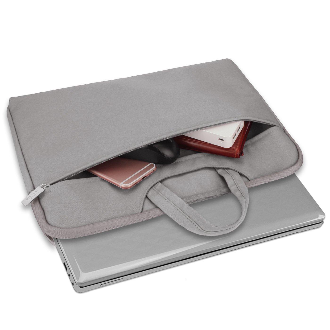 Noir ARVOK 15 15.6 Pouces Housse avec Poign/ée pour Ordinateur Portable Sacoche Pochette PC en Toile de Protection Ordinateur/pour Macbook Pro Retina//ASUS//Dell//HP//Lenovo//Tashiba//Sony