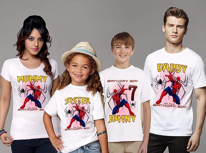 Amazon Spider Man Personalized Custom SPIDERMAN Birthday T Shirt Family Shirts Handmade
