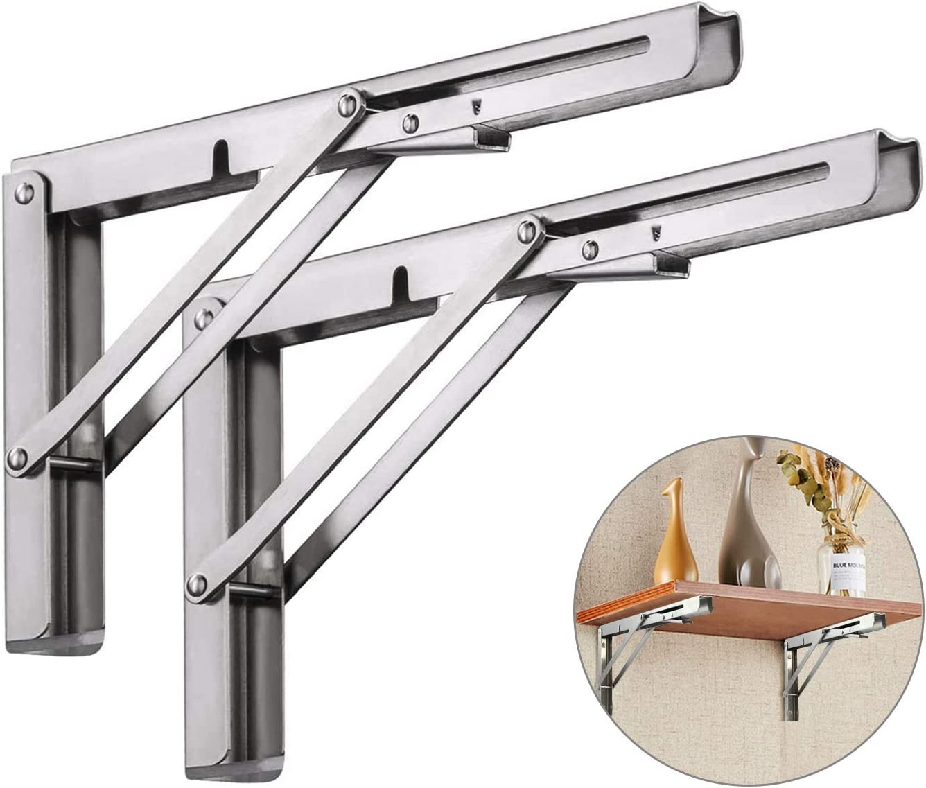 Folding Shelf Brackets 8 Inch,Heavy Duty Stainless Steel Foldable Wall Mount Shelf-Bracket, Suitable for DIY Various Space-Saving Work Bench with Install Screws. Pack of 2