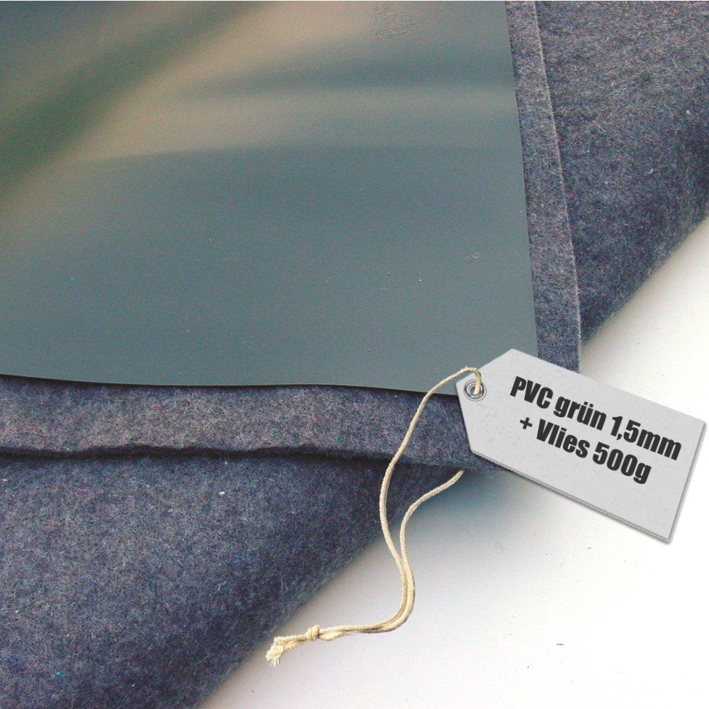 Lona de estanque PVC 1,5mm negro en 4x3m con fieltro 500 g/m²