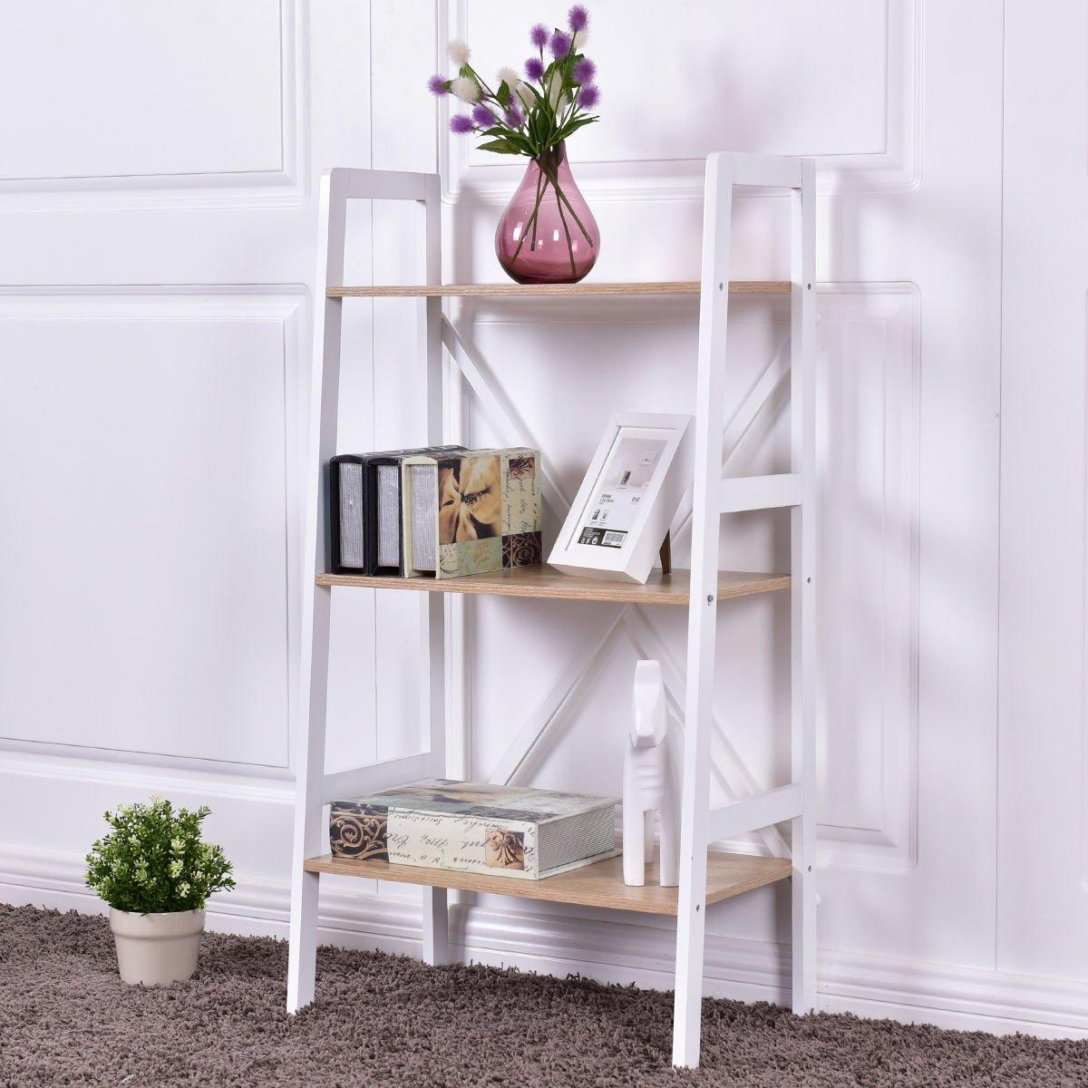 Giantex 3 Tier Bookshelf Bookcase Ladder Wall Stand Storage Shelves Book Rack