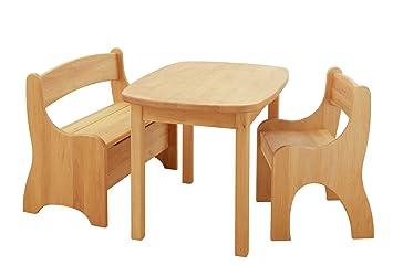 BioKinder 24789 Levin Kindersitzgruppe Komplett, Tisch, Bank, Stuhl Aus  Massivholz Erle