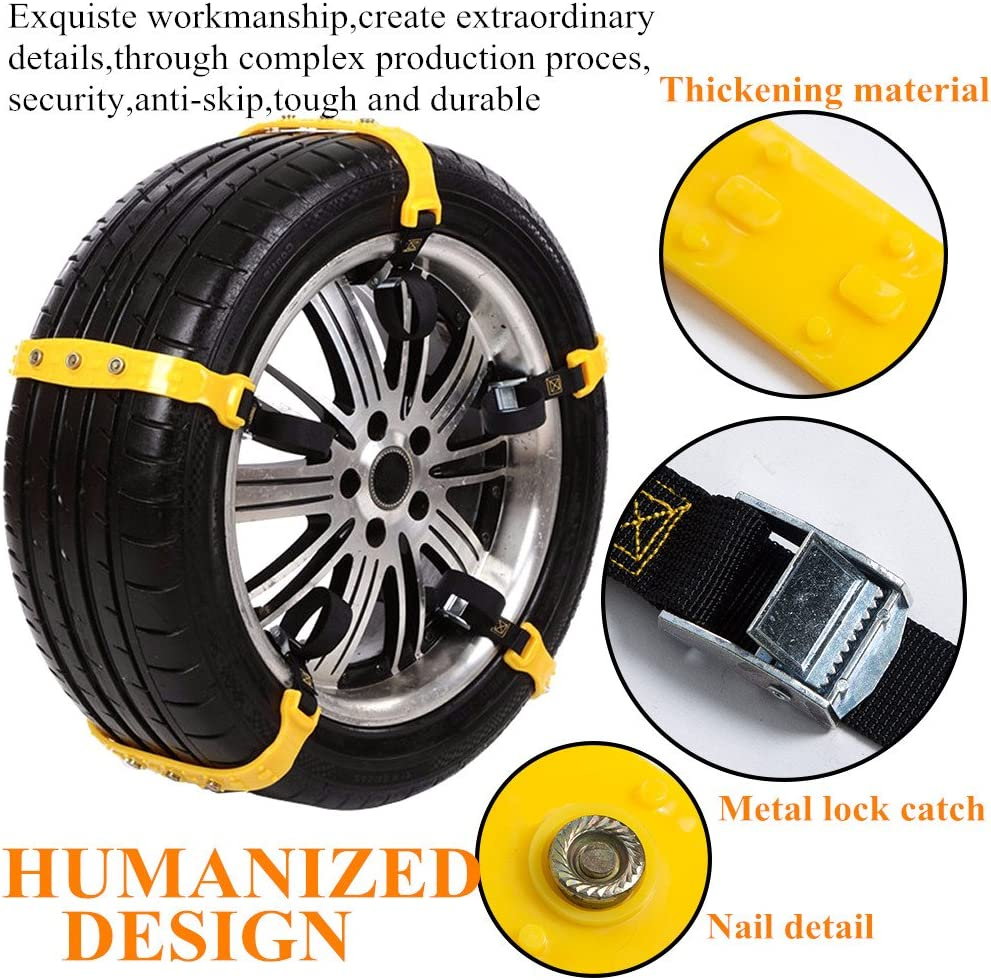 Snow Chains for SUV Car Anti Slip Adjustable Universal Emergency Thickening Anti Skid Tire Chain,Winter Driving Security Traction Mud 10 Pcs , Black for tire Width:7.2-11.6 inches 185mm-295mm