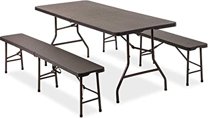 Snowve Folding Picnic Table And Chair Dining Table Set Portable Table And Bench Set Garden Furniture For Outdoor Camping Bbq Party Amazon De Garten