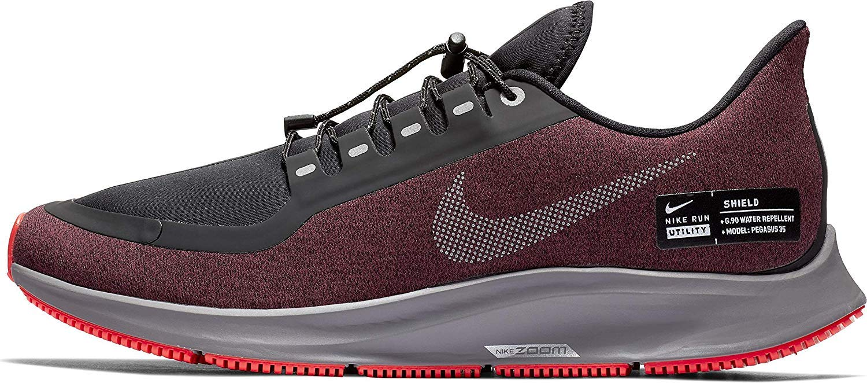 Nike Mens Air Zoom Pegasus 35 Shield Running Shoes, Black/Metallic Silver-Night Maroon