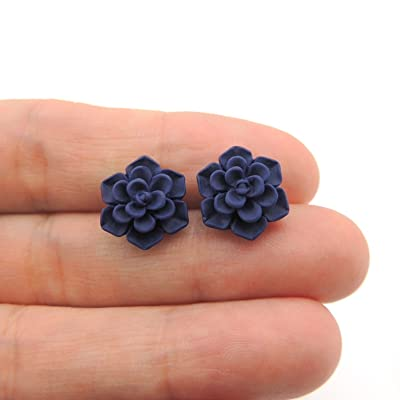 Succulent Earrings on Plastic Posts for Metal Sensitive Ears, 13mm Matte Deep Blue