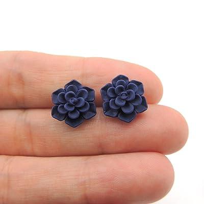Succulent Earrings on Plastic Posts for Metal Sensitive Ears, 13mm Matte Deep Blue