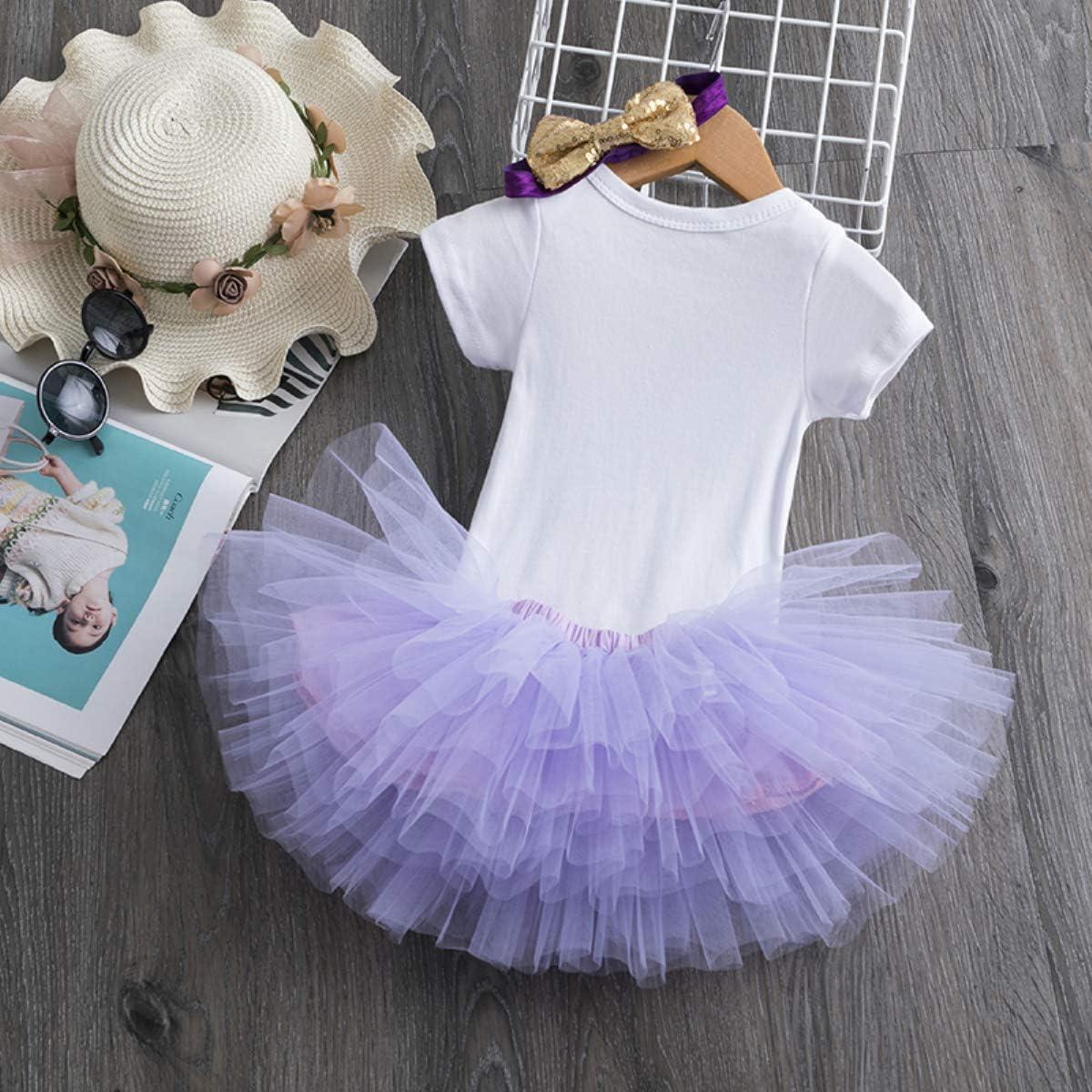 Tutu Kleid TTYAOVO M/ädchen Rock Neugeborenen 3er Babys 1 Geburtstag Set//Outfits mit Romper Stirnband