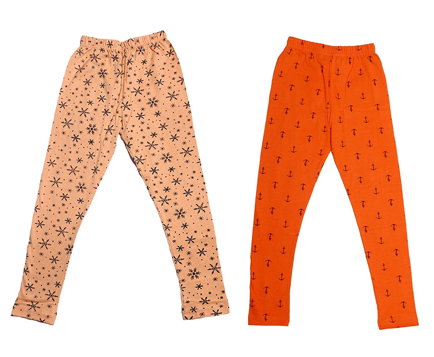 Pack of 2 Indistar Girls Super Soft and Stylish Cotton Printed Churidar Legging