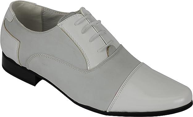 TALLA 46 EU. Los Hombres De La Patente del Cuero del Ante Línea De Encaje hasta Oxford Zapatos De Boda Ocasional Oficina del Partido