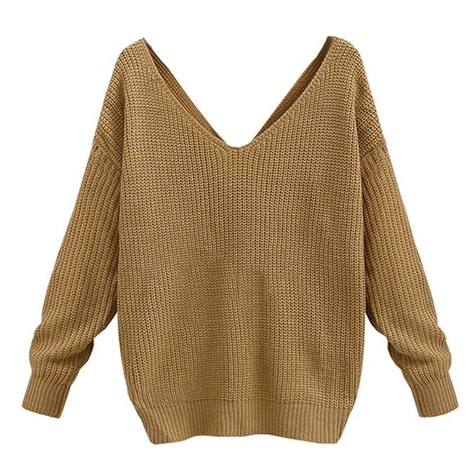 Yying Suéteres Cuello V Mujeres - Tops V Profundo Camisas Manga Larga Tshirt Tejer Suéter Mujer