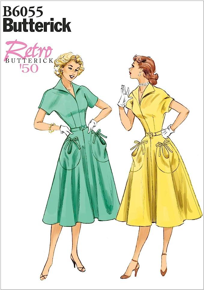 1950s Sewing Patterns | Dresses, Skirts, Tops, Mens Butterick Patterns Ladies Dress Pattern White E5 (14-16-18-20-22) £7.50 AT vintagedancer.com