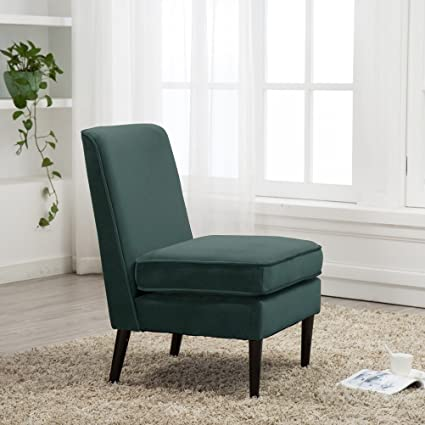 Cushioned Linen Armless Accent Chairs Sofa Couch Home Casual Living Room  Chair (S1 (Greenish Black))