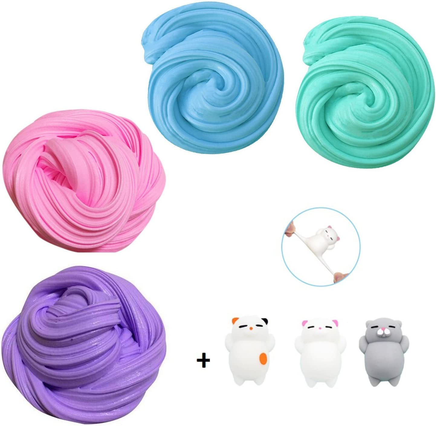 TIME4DEALS Fluffy Slime Kit, 4-Pack Jumbo Floam Slime Kit para ...
