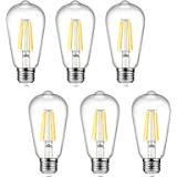 Dimmable Ascher Vintage LED Edison Bulbs, 6W, Equivalent 60W, 700lm, Warm White 2700K, ST58 Antique LED Filament Bulbs, E26 M
