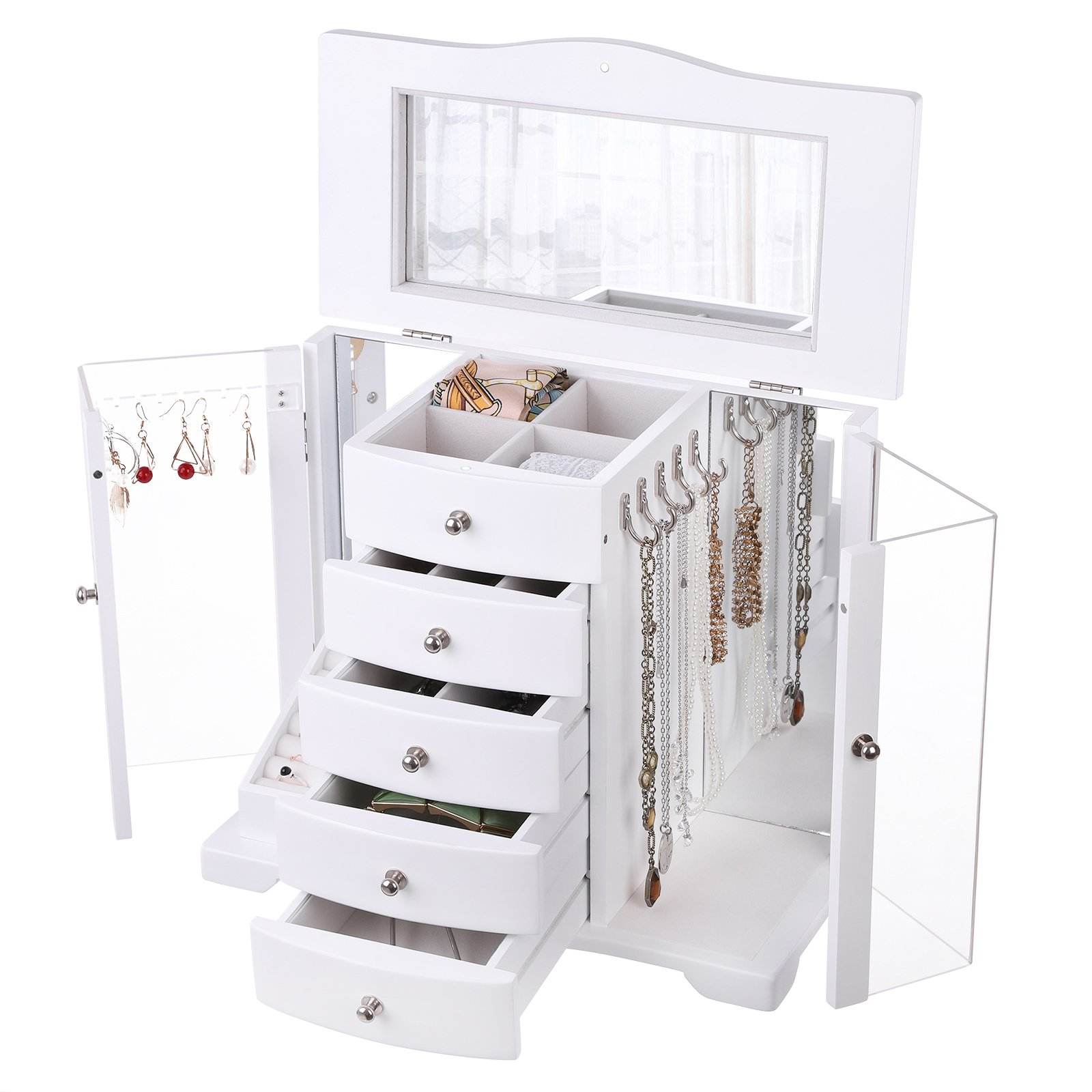 SONGMICS Wooden Jewelry Box Large Organizer with Clear Acrylic Doors and 4 Drawers,Gift for Mom, White UJOW57W