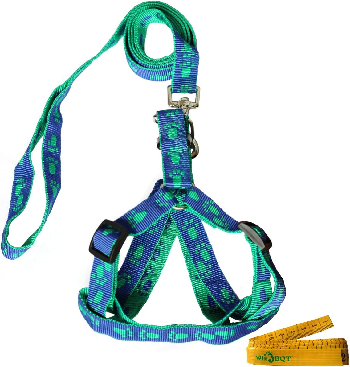 Wiz BBQT Blue and Green Adjustable Breakaway Dog Cat Pet Harness and Leash Set with Footprint for Dogs Cats Pets in Spring Summer Autumn (Medium)