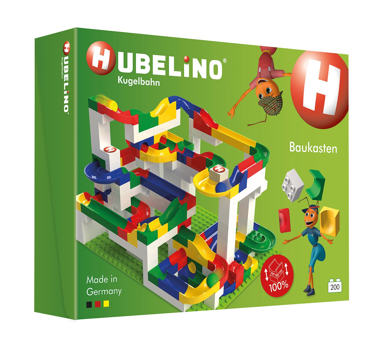 HUBELINO Marble Run - 200-Piece Big Building Box - the Original! Made in Germany! - Certified and Award-Winning Marble Run - 100% Duplo Compatible