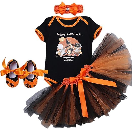 7e7bd3d8d Newborn Baby Girls 1st Halloween Outfit Orange Pumpkin Skull Romper Dress  One-Piece Bodysuit +