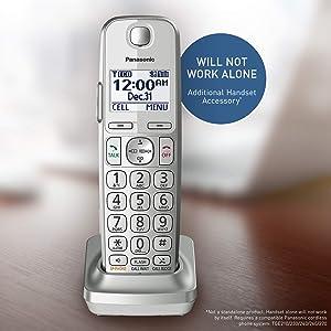 Panasonic Cordless Phone Handset Accessory Compatible with KX-TGE463S / KX-TGE474S / KX-TGE475S Series Cordless Phone Systems - KX-TGEA40S (Silver)