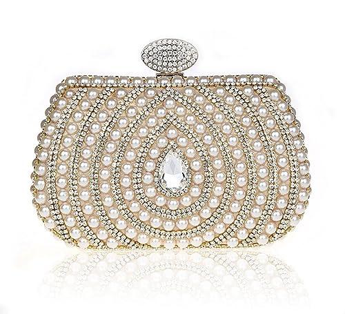 Handmade Pearl Beaded Bag Evening Prom Party Diamante Clutch Wedding Bridal  Purse Golden b2fa8d31f051