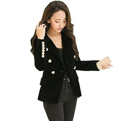 5216c86f95f8 Missrooney Autumn Velet Blazer Feminino Jacket Women Full Sleeve Female  Gold Button Ladies Blazers Outwear at Amazon Women's Clothing store: