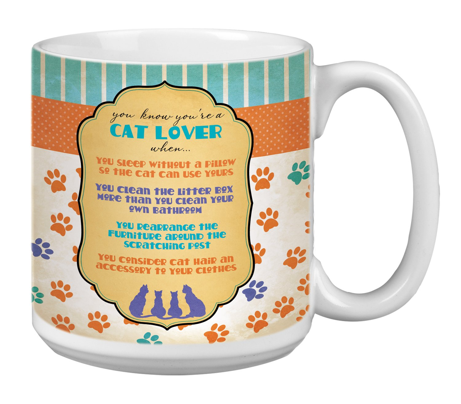 XM63175 Tree-Free Greetings Extra Large 20-Ounce Ceramic Coffee Mug Cat Lover Themed Pet Art