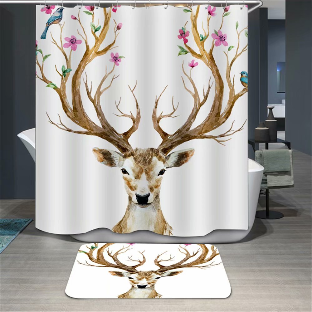 KANATSIU Brown Antlers Blossomed Shower Curtain 12 Plactic Hooks,100% Made Polyester,Mildew Resistant & Machine Washable,Width x Height is 60x72