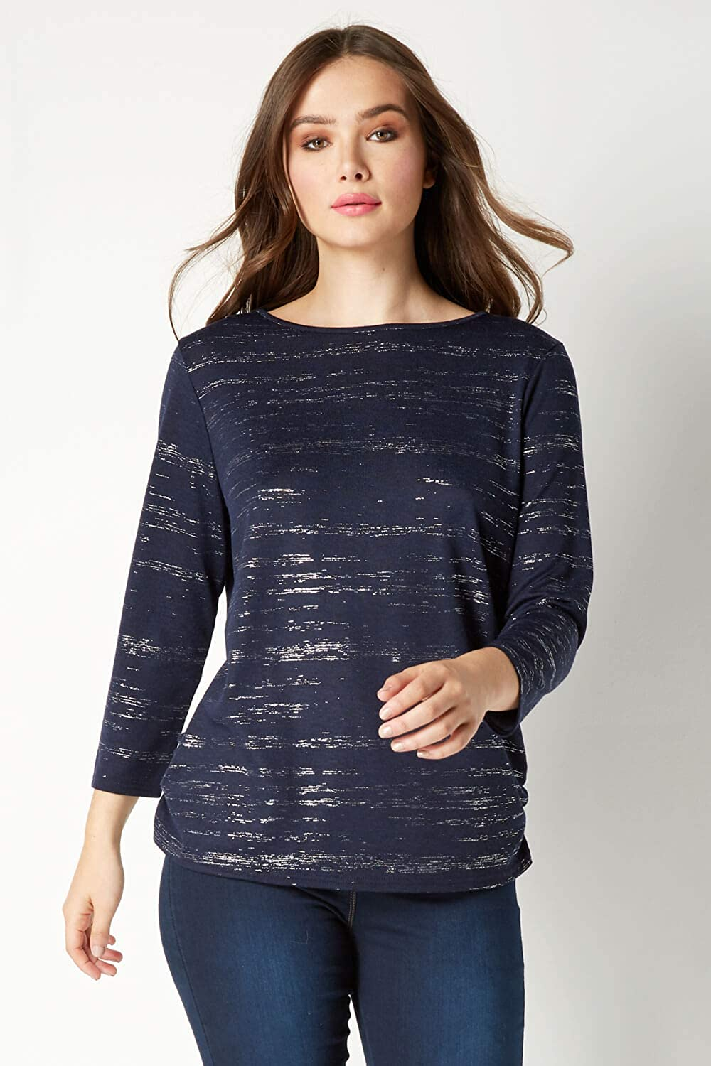 Ladies Shimmer Round Neck Casual Everyday Classic Stretch Tops Clothing Roman Originals Women Foil Print 3//4 Sleeve Top