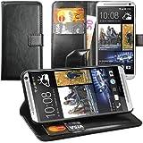 Original Lanboo® Wallet / Buch Tasche mit Magnetverschluss für HTC One Max - 803S - Schwarz