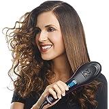BUYERZONE WITH BZ LOGO 2 in 1 Plastic Ceramic Straight and Curler Hair Straightener Comb and Styler Brush For Women (Medium, Black)