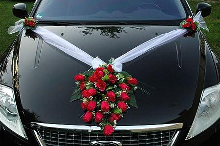 Bouquet di fiori artificiali come decorazione per lauto per il matrimonio Pink
