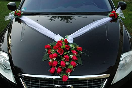 Lace And Rose Bouquet Wedding Car Decoration Bridal Accessory Pink