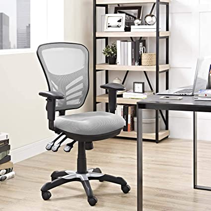 Marvelous Modway Articulate Ergonomic Mesh Office Chair In Gray Home Remodeling Inspirations Cosmcuboardxyz