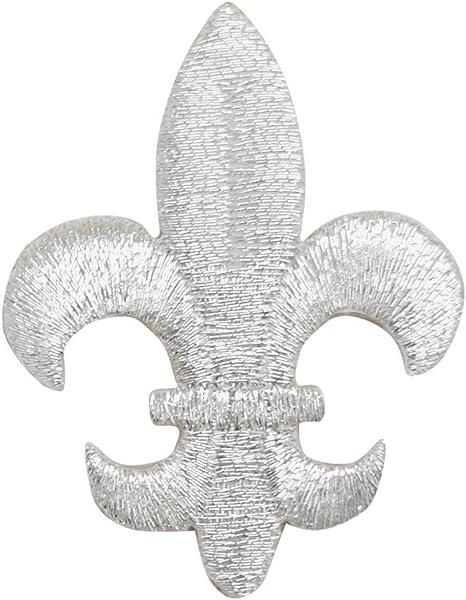 """Fleur De Lis Applique Patch Black Metallic Gold 1-3//4/"""" 3-Pack, Iron on"""