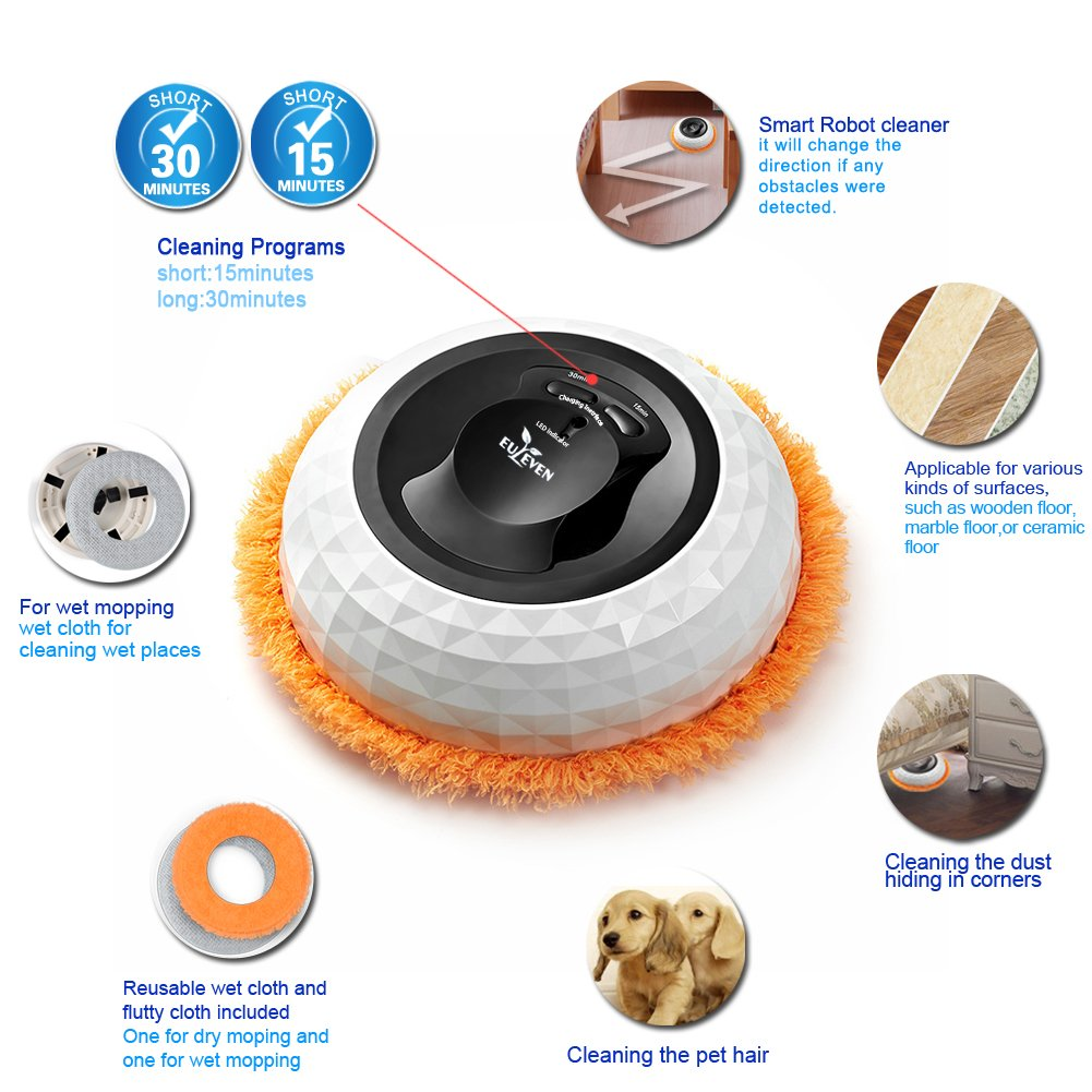 amazoncom euleven 3058g mopping robot diamond shape 2 timer fixed robotic cleaner - Robot Mop