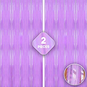 Xtra Large, Pastel Purple Fringe Curtain - 3.2x10 Feet | Pack of 2 | Foil Metallic Purple Backdrop | Purple Tinsel Curtain for Unicorn and Mermaid Themed Party, Under The Sea and Baby Shower Décor
