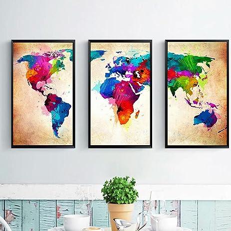Amazoncom Yesido Large Canvas Wall Art Prints World Map - Large world map painting