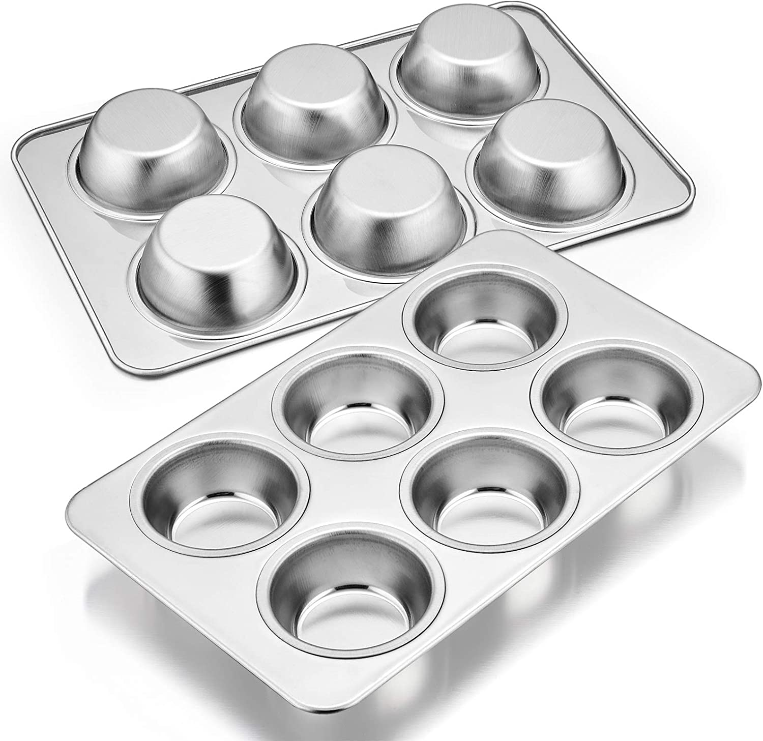 Muffin Pan Set of 2, E-far Stainless Steel Muffin Pan Tin for Baking, 6-Cup Metal Cupcake Pan Tray, Non-toxic & Healthy, Oven & Dishwasher Safe, Regular Size - 11.44 x 7.12 x 1.25 inch