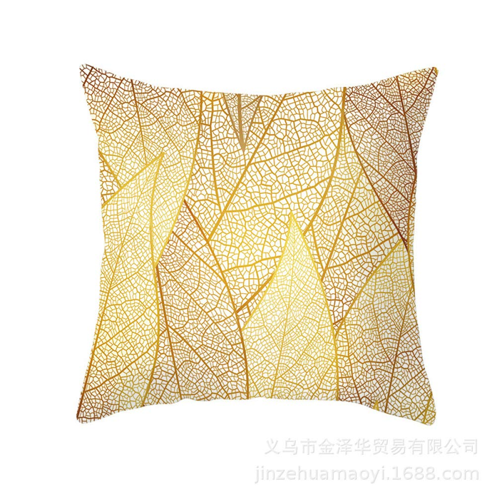 FASTCXV Ins Nordic Wind Pillowcase Gold Leaf Sofa Pillow Waist Pad Set Home Decoration TPR145-16 4545cm by FASTCXV