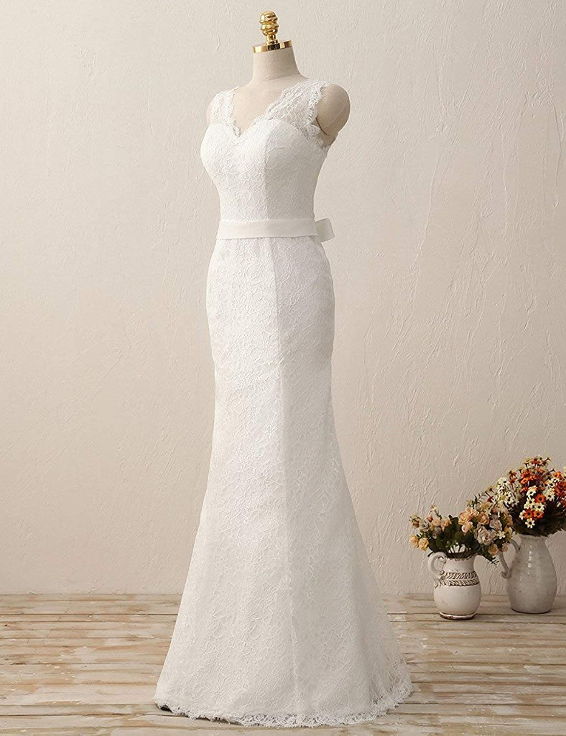 Wedding Dress for Bride Lace Bridal Gown Mermaid Wedding Gowns with Sash V Neck