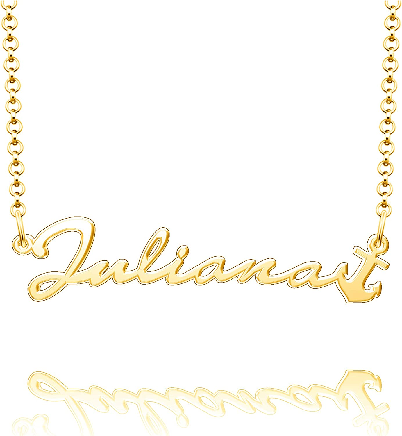 EV.YI Jewels Customized Name Necklace Hope Anchor Personalized Plated Gold