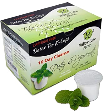 Willow Lake Farms 10 Day Mint Detox Tea Cleanse K-cups Decaffeinated .