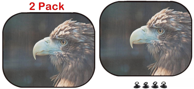 25437502 Bird of Prey 2 Pack Image ID Luxlady Car Sun Shade Protector Block Damaging UV Rays Sunlight Heat for All Vehicles