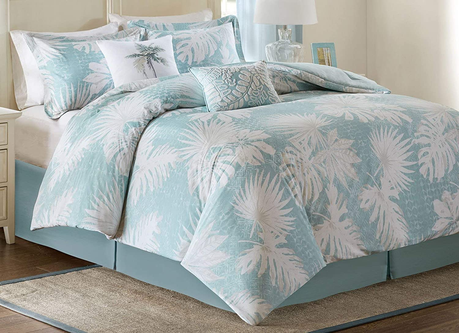 Harbor House Palm Grove Queen Size Bed Comforter Set - Aqua, Tropical Palm Tree Leaf Floral – 5 Pieces Bedding Sets – Cotton Sateen Bedroom Comforters