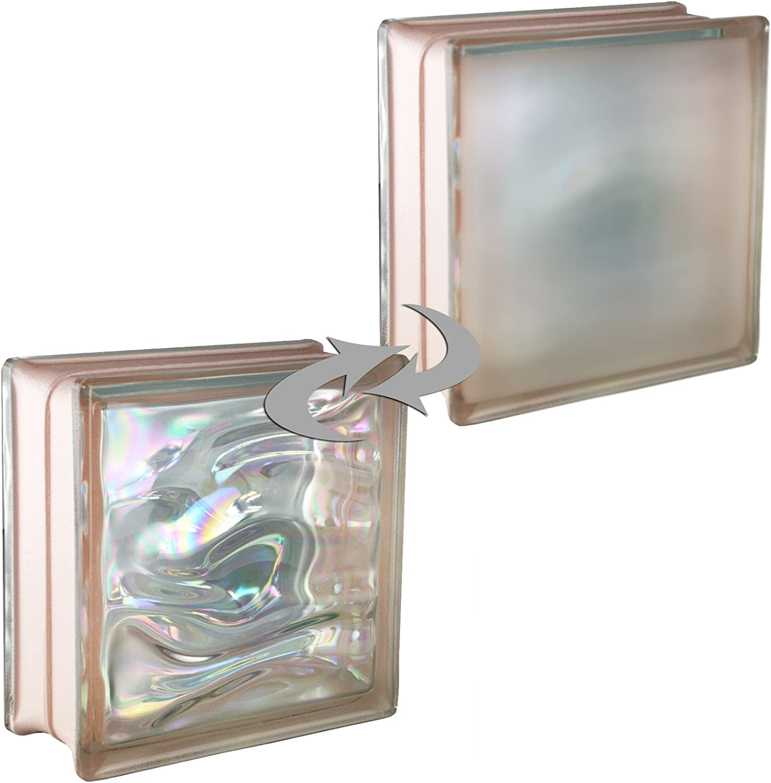 19x19x8 cm vidrio mate 6 piezas BM bloques de vidrio AGUA perla rosa satinado por un lado